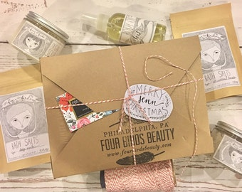 Gift Set by Four Birds Beauty { Bridesmaids Gift / Gift for Her / Christmas Gift / Bath & Body Gift Set /  Holiday Gift / Sugar Scrub }