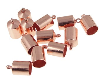 Kumihimo End Caps 12 Copper Plated 6mm Cord End Caps (KH30)