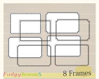 ON SALE Digital frame, Line Frames clipart, digital scrapbooking frames.A-03 ,  Instant download