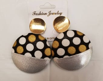 Clementines Earrings (silver/polka dots)