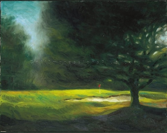 "Golf Art. Golf Gift. Chechessee Creek Golf Club, Okatie, South Carolina, ""Shaded"". Print of original Oil Painting."