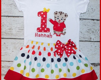 New Super Cute Daniel the Tiger Birthday Skirt outfit Name and age included Rainbow polka dot