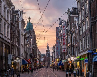 The Streets of Amsterdam at Sunset - Amsterdam  Rembrandtplein - Netherlands Photography