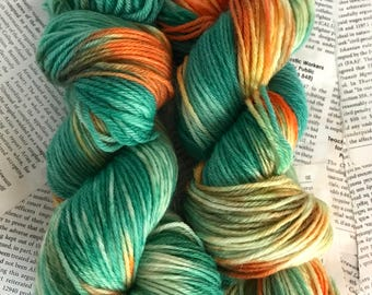 """100% Peruvian Wool Hand-Dyed Worsted Weight Yarn in """"Neon Tidepool"""" 220 yards each skein"""