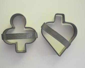 Cookie Cutters Club and Spade Soldered Tin Set of 2 (B)