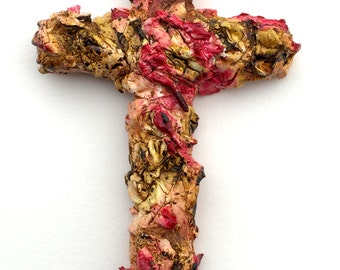 handmade original wood and plaster cross, painted wall sculpture, wall collage, red, gold