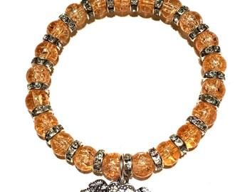 Orange Glass Beaded Angel Wing Heart Charm Bracelet