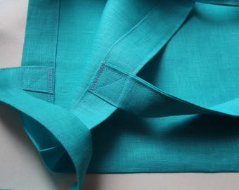Turqouise Blue Linen Tote Bag - Bright Summer Linen Tote - Made in Latvia