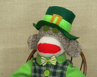 "Irish Sock Monkey - Irishman Sock Monkey - One of a Kind - 18"" Rockford Red Heel Socks"