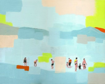 Whats in the water? - original acrylic figurative abstract painting of a people in the beach sea water pastel seascape living room decor art