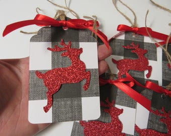 6 Black and White Buffalo Plaid and Red Glitter Deer Christmas Tags-Rustic Christmas Tags-Christmas Decor-Christmas Tags-Buffalo Plaid Decor