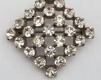 Vintage Clear Paste Rhinestone Brooch