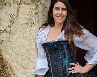 Victorian Bride, Bridal Gown, Wedding Dress, Royal Blue, French Corset, Themed, Renaissance, Steampunk, Vampire, Halloween