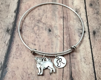 Pug initial bangle - pug jewelry, dog breed jewelry, gift for pug owner, silver pug pendant, small dog jewelry, pug dog bracelet