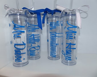 Wedding Tumblers, Tall Tumbler - Bride, Bridesmaid, mother of the bride, mother of the groom
