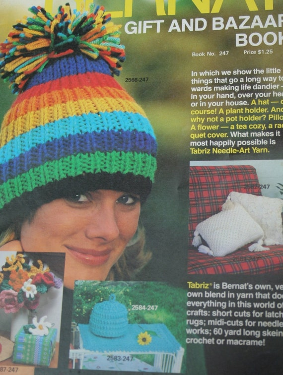 Knitting Patterns Crochet Bernat Gift and Bazaar Book 247 Hat ...