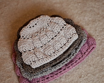 Crochet hat PATTERN  -  Tiered Hat (baby to adult)
