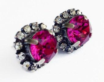 Fuschia Pink Earrings - Diamond Swarovski Rhinestone Earrings -  Antique Silver Halo Stud Earrings