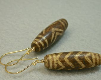 Ancient Pumtek Bead Petrified Fossilized Wood Dangle Drop Earrings, Bali 24K Gold French Ear Wires -GIFT WRAPPED