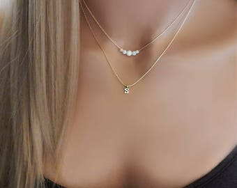 Opal and Initial Necklace • Gift for Girlfriend • Dainty Gold Necklace• Personalized Layered Beaded Opal • Letter Jewelry [5L]