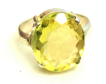 30.20Ct Certified US Size-7 Yellow Citrine Awesome Ring Gems 925 Sterling Silver ET64