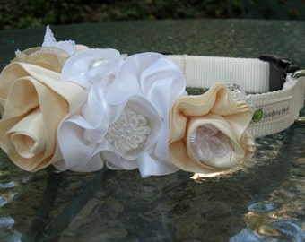 Unique Wedding Dog Collar, Pet Wedding Accessory, Flowers, Buttons, Silver Leaves, white and ivory accents, Flowered dog collar, wedding pet