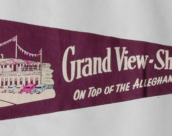Genuine Vintage 1940s-'50s era Felt Pennant Souvenir of the Grand-View Ship Hotel, Pennsylvania — Free Shipping!