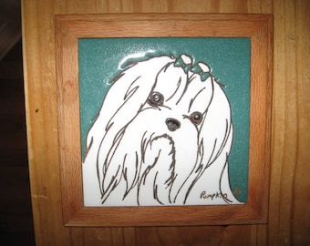 Llaha Apso Ceramic Tile Plaque