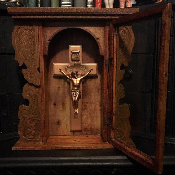 Antique Altar Box with Crucifix
