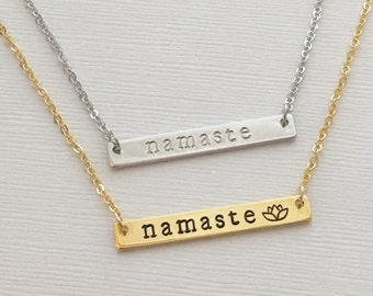 Namaste Necklace, Bar Necklace, Lotus Flower Necklace, Yoga Jewelry, Namaste Bar Necklace, Zen Necklace, Personalized Bar Name Necklace