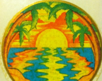 Tropical sunrise or sunset vintage sticker by Illuminations, 1981