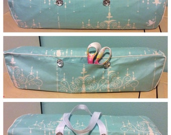 Cricut Maker and Explore/ Air/ Air2/ One Handmade Convertible Dust Cover/Travel Tote Bag Light Blue and White chandelier with White Piping