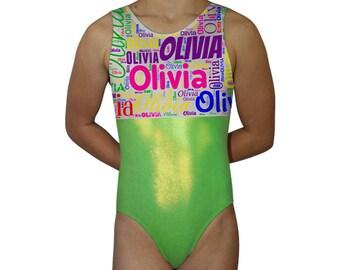 Personalized Gymnastics Leotard for Girls | Subway Art Leotard | Dance Leotard | Bodysuit | Child, Toddler & Adult by AERO Leotards