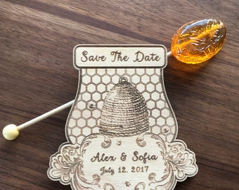 Honey Save The Date Magnet, Soon to Bee Bridal Magnets, Personalized Wood Magnets, Rustic Designer Beekeeper Wedding Invite, Magnets Set 10
