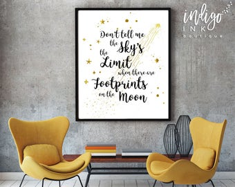 Don't Tell Me the Sky's the Limit When There are Footprints on the Moon   Nursery Décor   Dorm Wall Art   Tween Prints   Footprints on Moon