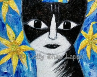 Whimsical cat art, tuxedo cat, black and white cat,funny cat portrait, cat art, floral,cat and flowers.acrylic painting