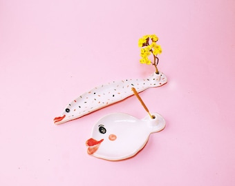 Fish Incense Holder Ceramic, Fish Incense Holder Hand-Built Pottery