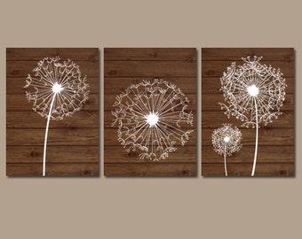 DANDELION Wall Art, Dandelion Wood Effect, Dandelion Nursery Art, Canvas or Prints, Floral Bedroom Pictures, Bathroom Decor, Set of 3