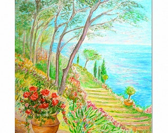 The Italian garden, Impressionist painting artist Ellhea