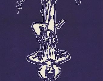 The Hanged Man Tarot Print / Tarot Card Poster / Handmade Linocut Print / Tarot Card Art / Fortunetelling Print /  8x10 matted to 11x14
