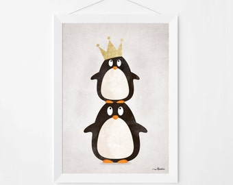 Poster print wall art. Illustration art with cute penguins. Kids and nursery wall art for instant download. Available in 3 sizes.