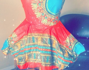Dashiki print sleeveless top