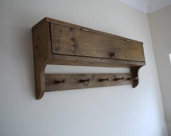 Coat Rack With Cupboard Rustic Reclaimed Pallet Wood