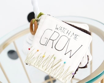 WATCH ME GROW Cloth Book: Interactive Cloth Book-Soft Book- Gender Neutral-Wooden Teething Ring-Rattle-Squeaker