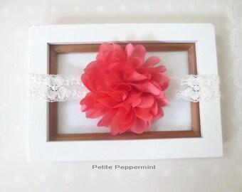 Coral Baby Headband, Baby Headband lace, Newborn Headband, Infant Headband, Toddler Headband, Baby Hair Bow, Girl Hair Bow