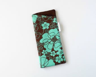 Sunglasses Pouch, Padded Sunglasses, Cute Glasses Pouch, Soft Sunglasses Case, Fabric Glasses Pouch, Reading Glasses Case, teal brown
