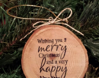 Merry Christmas Wood Slice Ornament