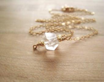 Herkimer Diamond Necklace Herkimer Minimalist Necklace Raw Gemstone Crystal Pendant Simple Modern Jewelry Bridal Wedding Gift Idea For Her