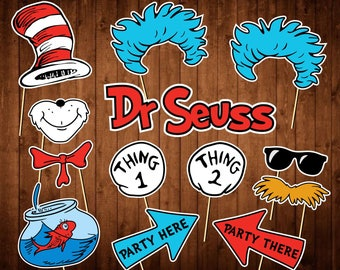 Dr Seuss Photo Booth Props - INSTANT DOWNLOAD - Printable Party Supplies