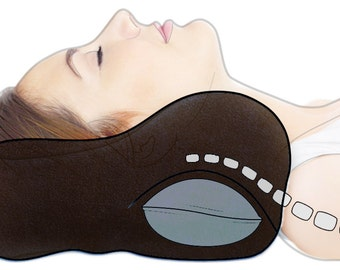 Award-Winning Chiropractic Neck Pillow, Medium, Black, Best for Sofa and Bed, Cervical Support, Stiff Neck Pillow